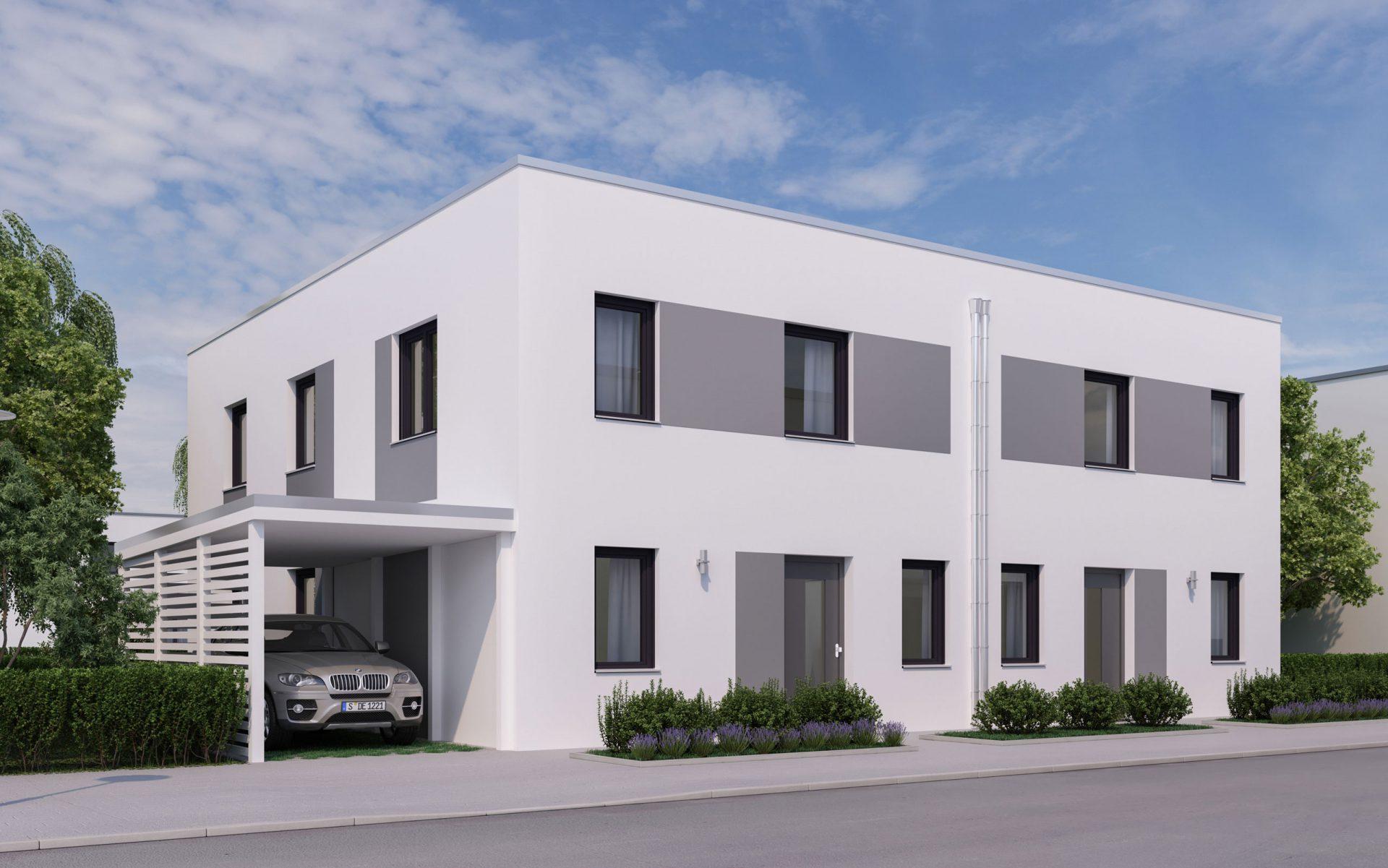 3D Visualisierung Flachdachhaus