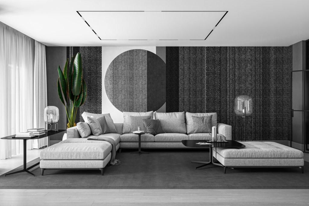 Wohnzimmer 3D Visualisierung Farbe Schwarz Weiß Pflanze Zuhause