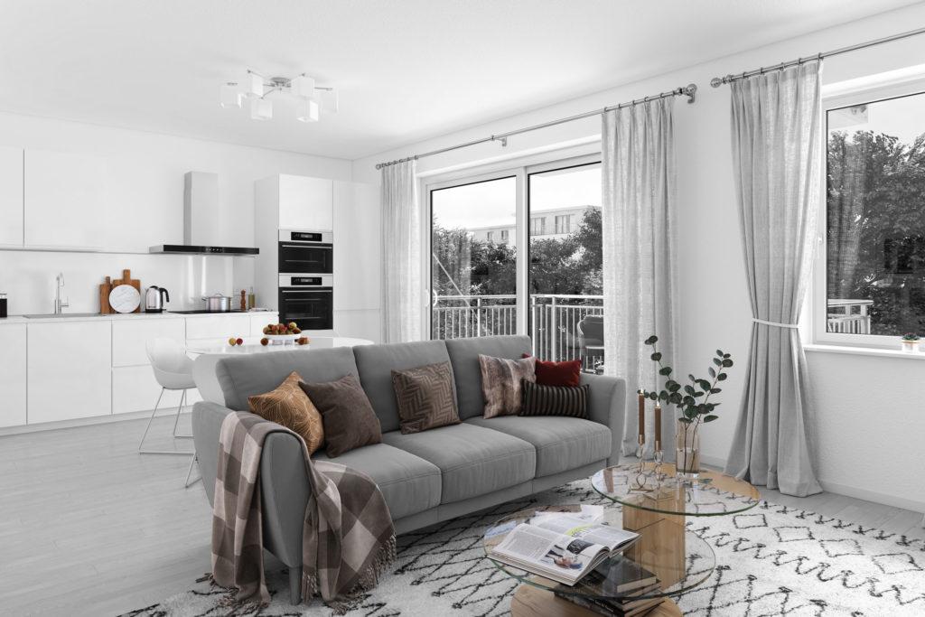 Wohnzimmer 3D Visualisierung Farbe Schwarz Weiß