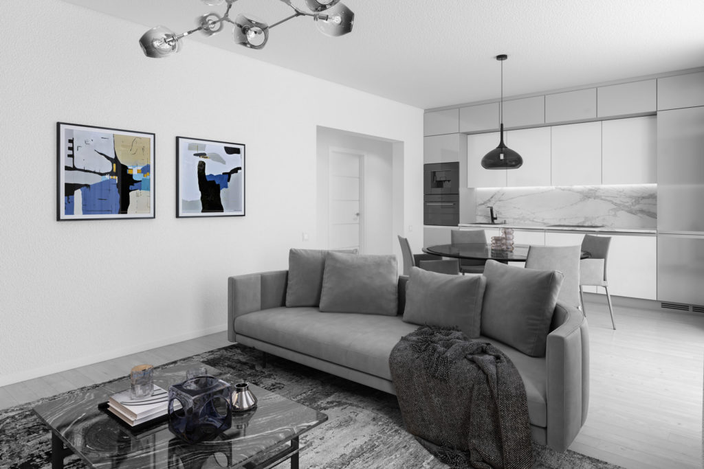 Wohnzimmer 3D Visualisierung Deko Schwarz Weiß Blau