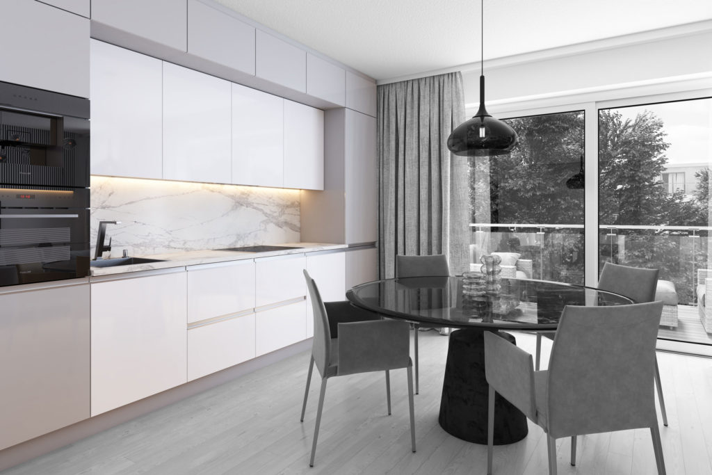 Küche 3D Visualisierung Küchenzeile Schwarz Weiß