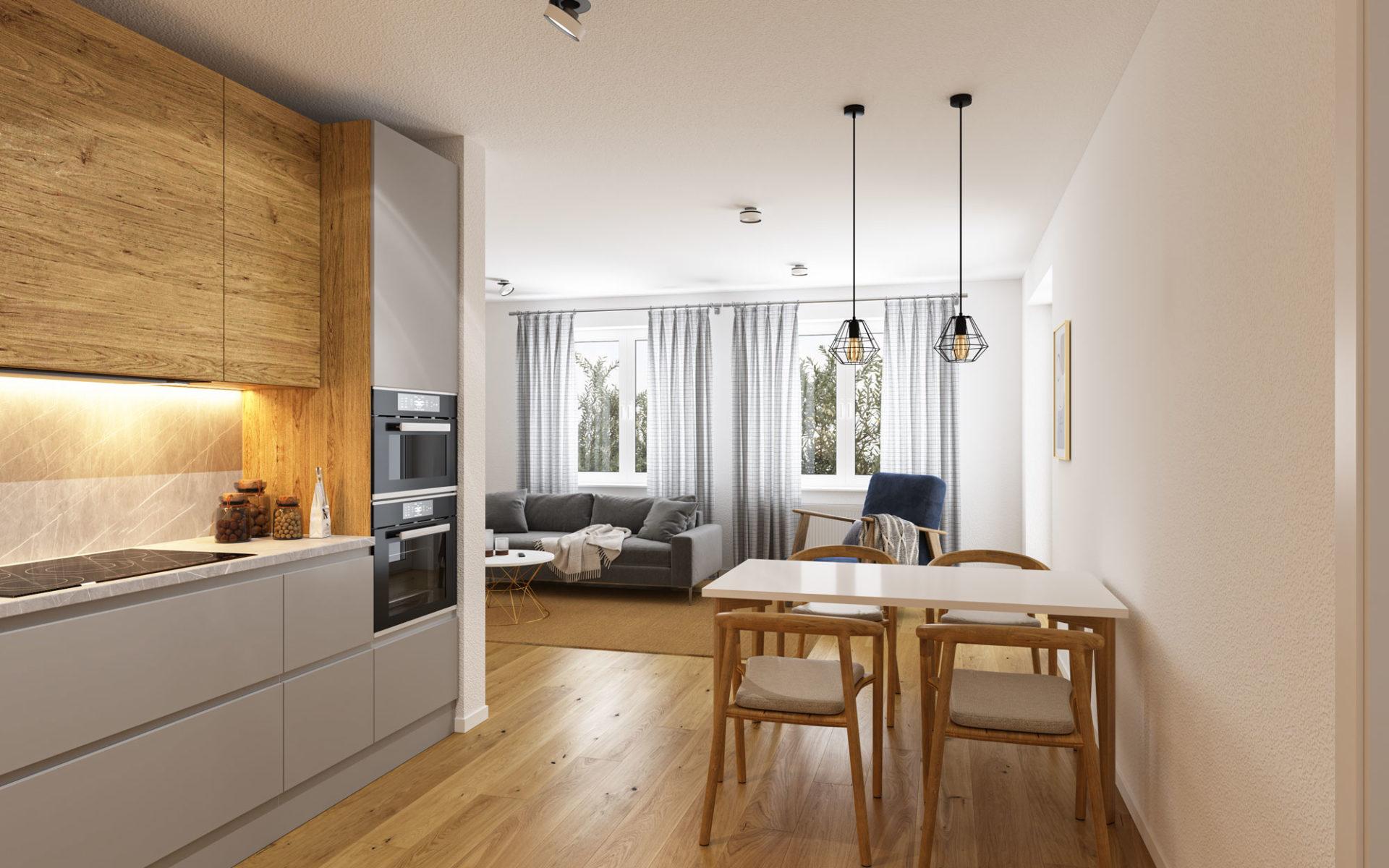 Küche Esszimmer 3D Visualisierung Innenraum
