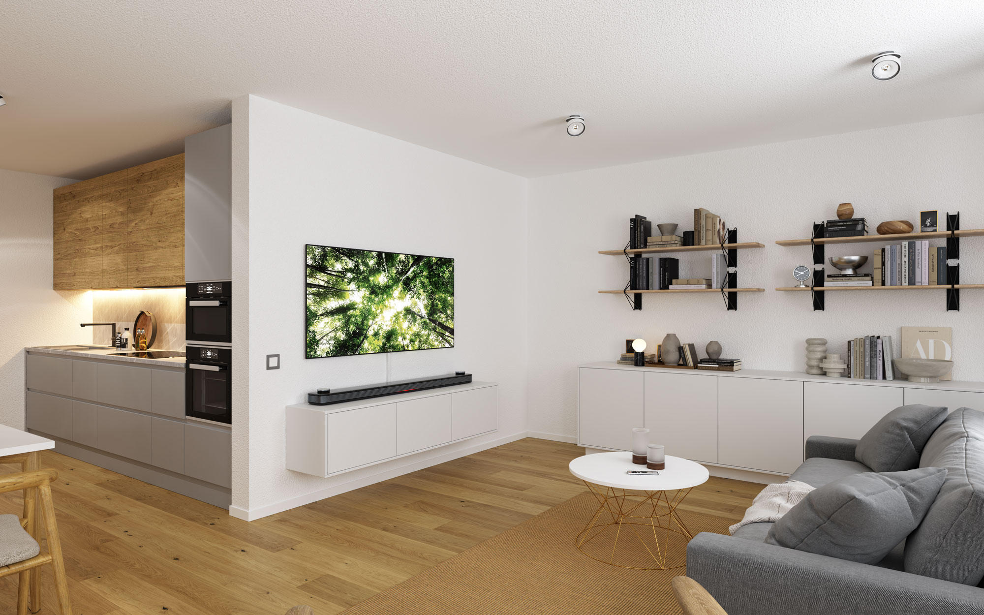 Wohnzimmer 3D Visualisierung Innenraum