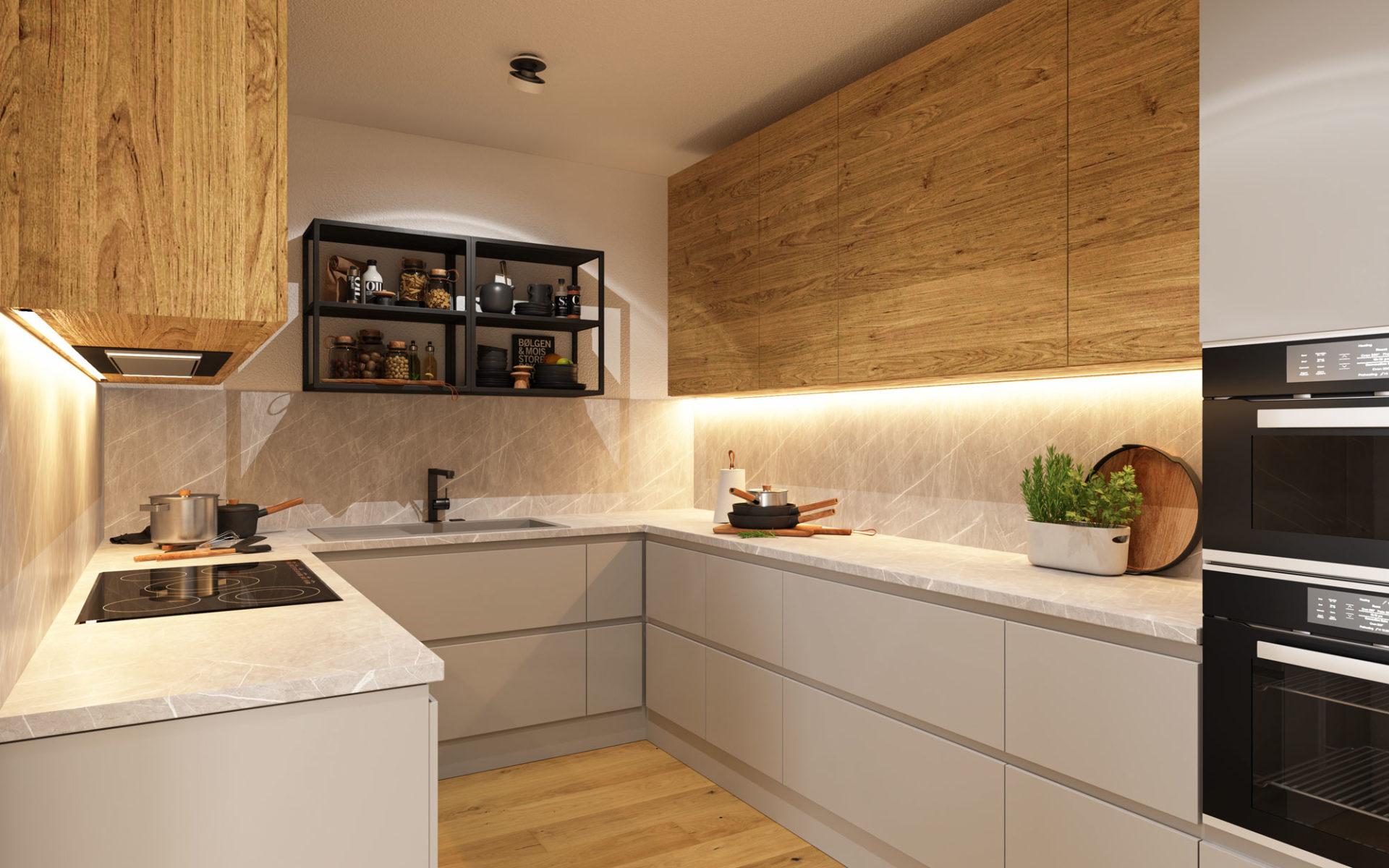 Küche 3D Visualisierung Innenraum